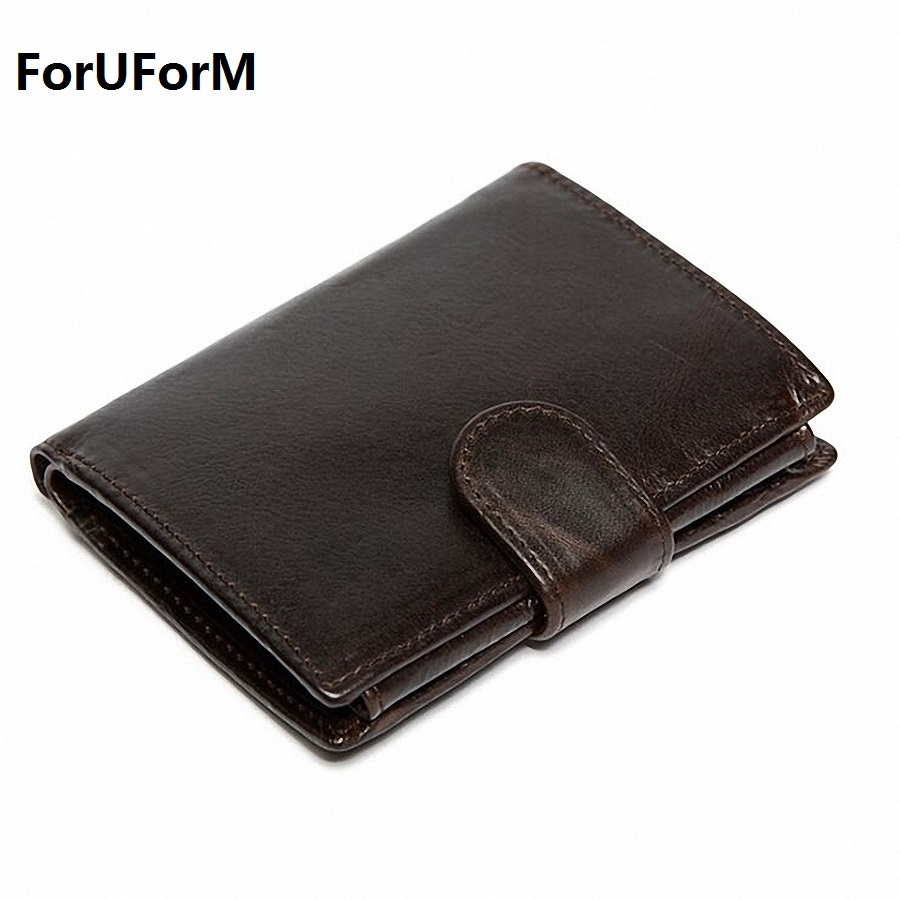 Genuine Leather Men Wallets Short Coin Purse Small Vintage Wallet Cowhide Leather Card Holder Pocket Purse Men Wallets LI-1876 2017 new cowhide genuine leather men wallets fashion purse with card holder hight quality vintage short wallet clutch wrist bag