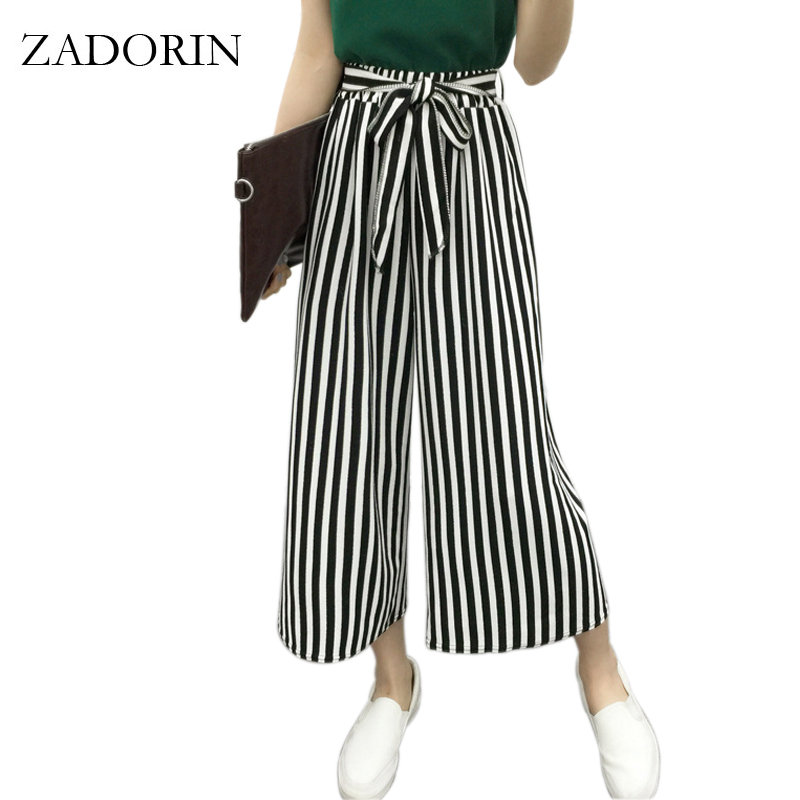 Womens Stripped Casual Palazzo Loose Fit High Waist Long Trousers Cotton Line A1
