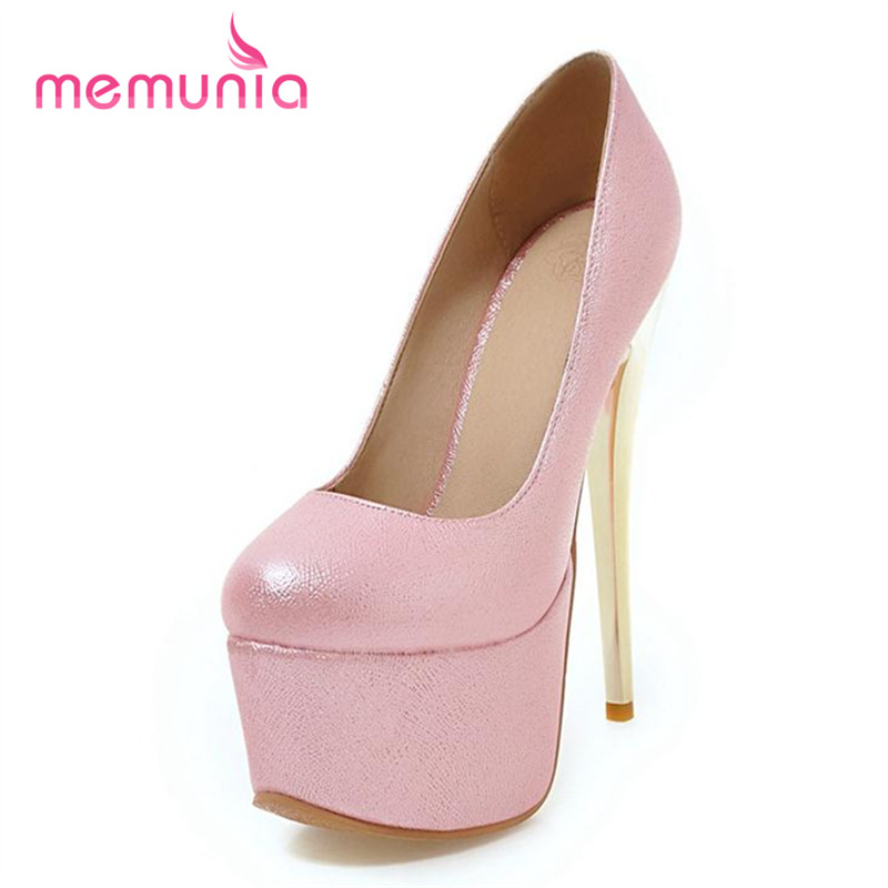 MEMUNIA Three colors high heels shoes platform shallow single wedding shoes women pumps round toe solid pu big size 34-48 sweet memunia platform shoes shallow solid round toe high heels shoes big size 33 44 party shoes soft leather hot sale contracted