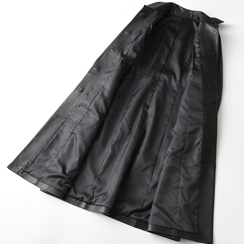 Manteau Élégant En Cuir Longue Npi Nouvelle De La Arrivée Femmes Peau Véritable Automne Féminine Mode Veste 80905f Black Mouton Hiver Conception C5O1q