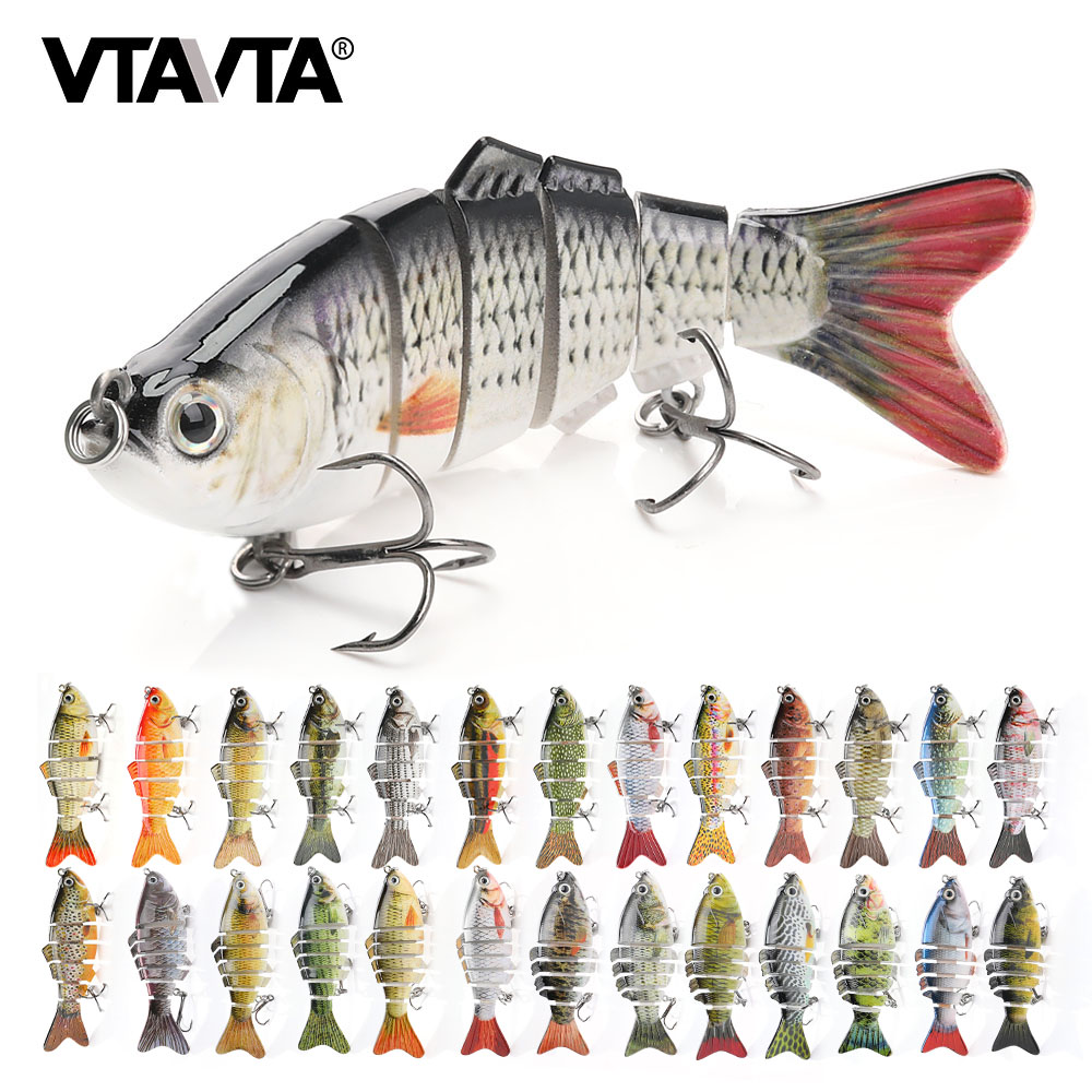1pcs Multi-Jointed Fishing Fish Lures Bait Life Like Pike Minnow 4# Hook 14cm K