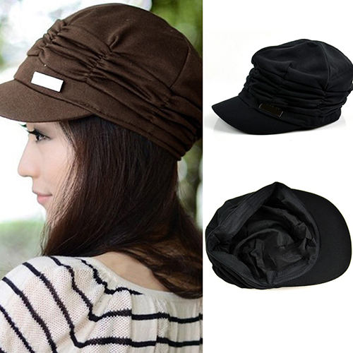 Women Fashion Pleated Peaked Cap Hat Casual  s Travel Sunhat