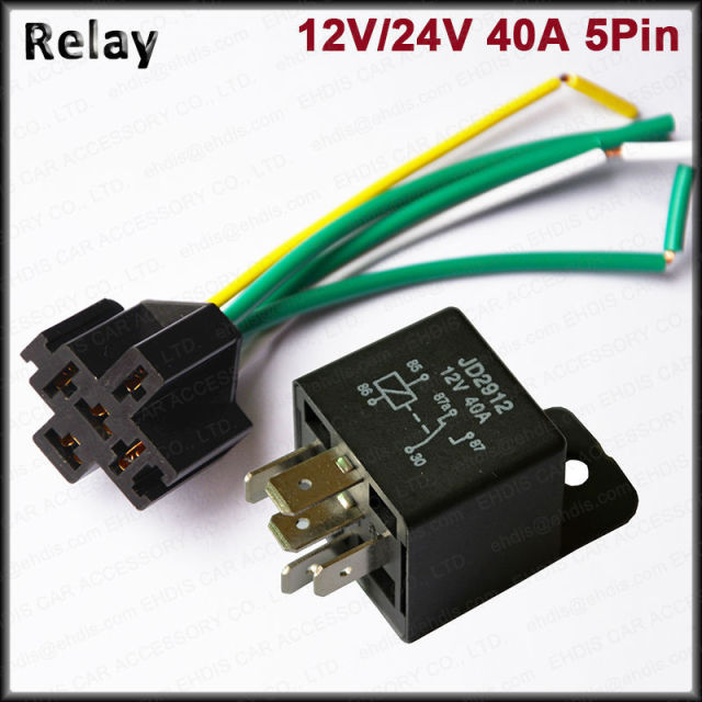 5pcs Waterproof Car Relay  U0026 Socket 12v    24v 40a Spdt 5pin