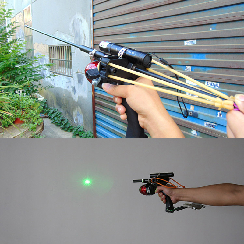 все цены на Laser Dot Slingshot Shoot Fish Set Hunting Fishing Slingshot with Green Laser Can Shoot Fish Arrows онлайн