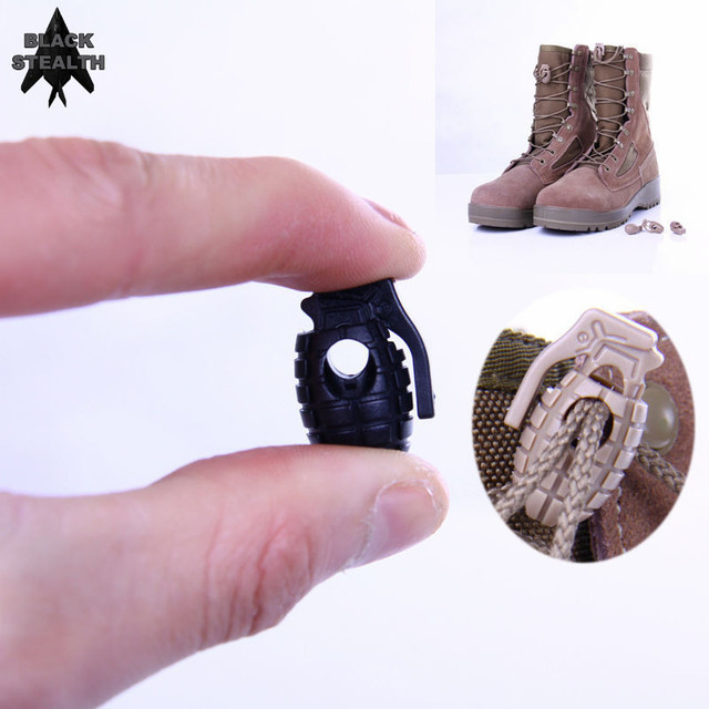 1b6b34123c53 BLACK STEALTH 10pcs lot Tactical Footwear Hiking Boots Grenade Shape  Shoelace Tightening Non-slip