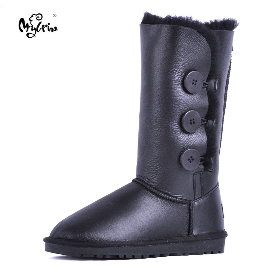 MYLRINA Women Snow Boots Genuine Sheepskin Leather Woman Boots 100% Natural Fur Casual Warm Shoes Women Winter Boots цена и фото