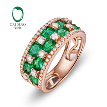 Caimao Jewelry 18k Gold 1 65ct Emerald 0 67ct Natural Diamond font b Engagement b font