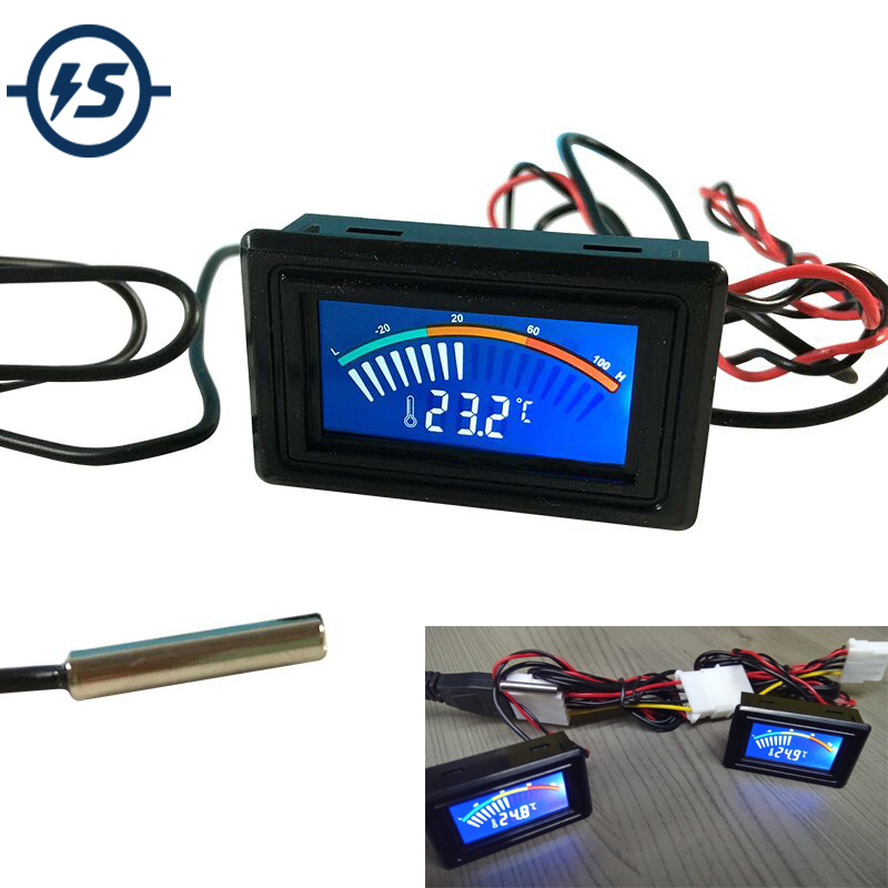 Thermometer Temperature Digit Display Meter DC 5-25V For Computer Car Water Celsius Measurement +1M Probe Car Thermometer