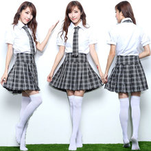 Adult Girls Japanese Korea School Students Costume Suit Short Sleeve Blouse Plaid Pleated Skirt Anime Sweet Outfit For Teen(China)