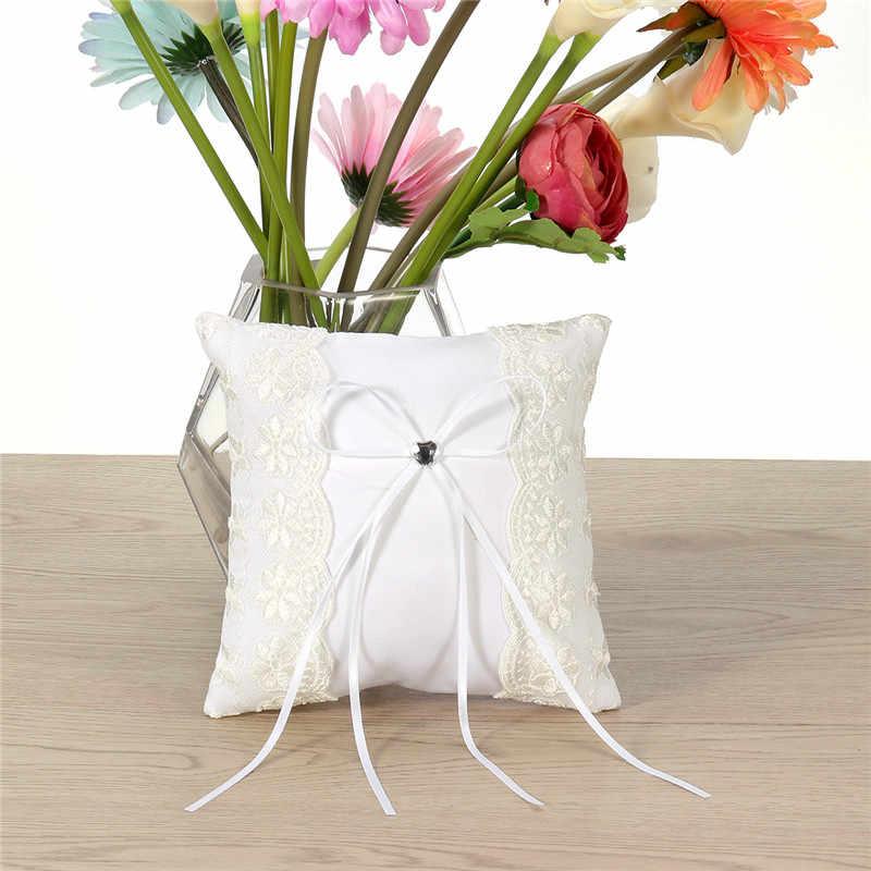 Кружева Цветок украшенные свадебные церемонии для кармана с кольцом подушку подушки Свадебные аксессуары украшения