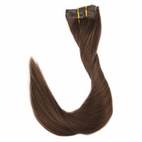 Full Shine Clip With Tape Hair Extensions Seamless Pu Clip In Tape Chocolate Brown Color#4 8Pcs 100g 100 Remy Hair Clip In Tape