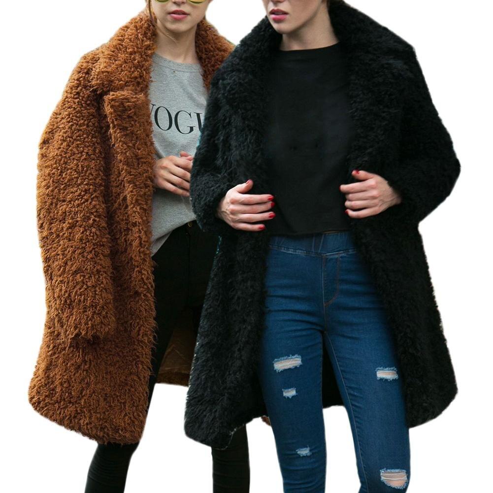 2018 Fashion Women Autumn Winter Warm Hooded Fluffy Long Coat Fleece Fur Jacket Outerwear Neck Lapel Fur Coat Thickening Coat