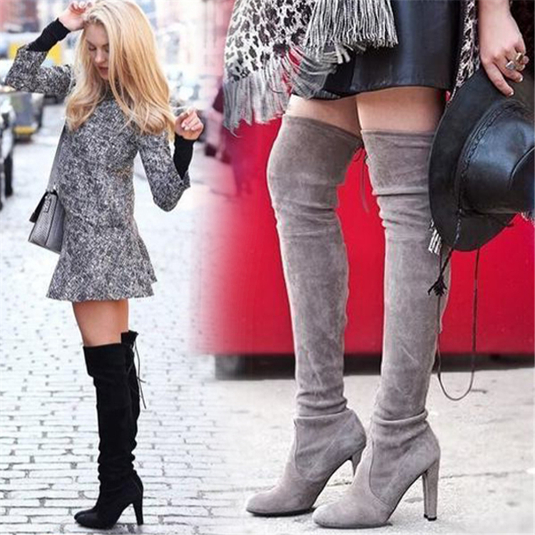2017 Fashion Designer suede leather thigh high boots chunky high heels women stretch over the knee boots autumn winter shoes