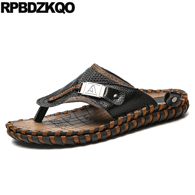 Plus Size Closed Toe Slides Water Flip Flop Mens Sandals 2019 Summer Outdoor Mules Leather Black 47 Fashion Shoes 46 Native