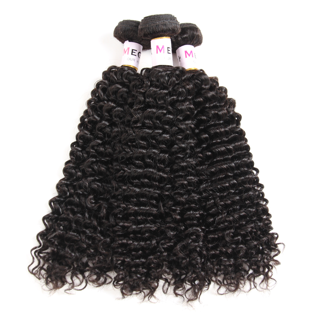 Megalook Brazilian Kinky Curly Human Hair Bundles with Closure 100% Remy Human Hair Bundles with Closure