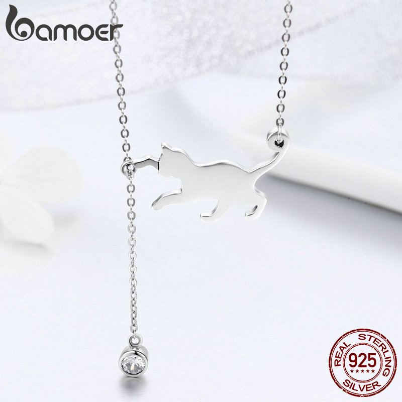 BAMOER Fashion Genuine 925 Sterling Silver Cute Pet Pussy Cat Chain Pendant Necklace for Women Sterling BAMOER Fashion Genuine 925 Sterling Silver Cute Pet Pussy Cat Chain Pendant Necklace for Women Sterling Silver Jewelry SCN232