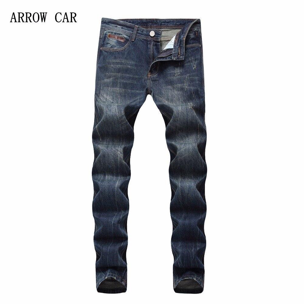 Flèche voiture 2018 nouveaux hommes Slim Jeans droit coton solide mi Denim pantalon mode jean mince décontracté pour les hommes