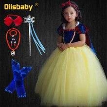 00c51ca78501f عيد ميلاد فتاة الثلج الأبيض الأميرة اللباس كرنفال زي الأطفال فساتين السهرة  الأولى بالتواصل اللباس الاطفال