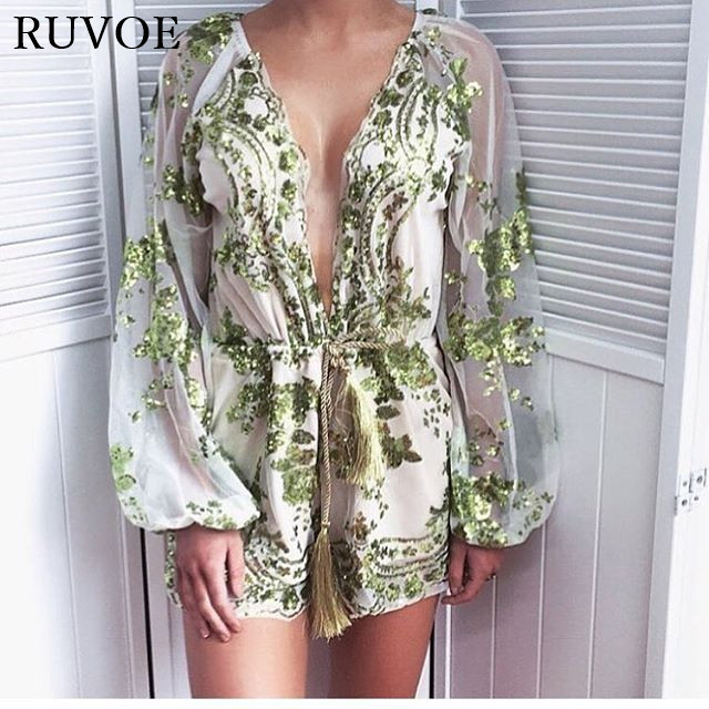 Autumn Gold Sequin Embroidery Elegant Jumpsuit Romper Transparent Mesh Sleeve Playsuit Women Deep V Neck Overalls BH-31