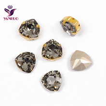YANRUO 4706 Trilliant All Sizes Black Diamond Crystal Stone Pointback Strass Glass Sewing Rhinestones Bright Appliques