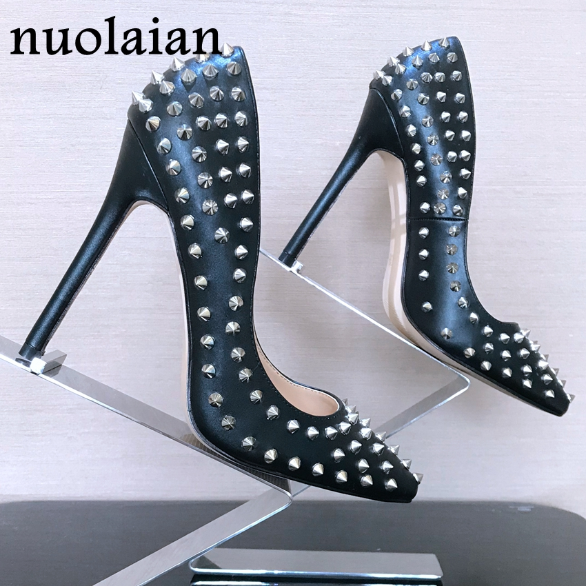 8/10/12CM Shallow High Heel Shoes Womens Wedding Shoes Summer High Heels Woman Rivet Party Pumps Lady Sexy Rivets Women Sandals brand design womens high heels shallow pump shoes woman sexy wedding pumps women high heel shoes thin heels party dress platform