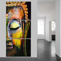 QKART Wall Art 3 Panels Buddha Wall Pictures For Living Room Oil Paintings On Canvas Posters
