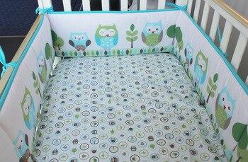 5pcs Embroidery Breathable Baby Crib Bedding set de cuna  Baby Cot Linens Boys Girls Baby Crib Set kit berço (4bumper+bed cover)