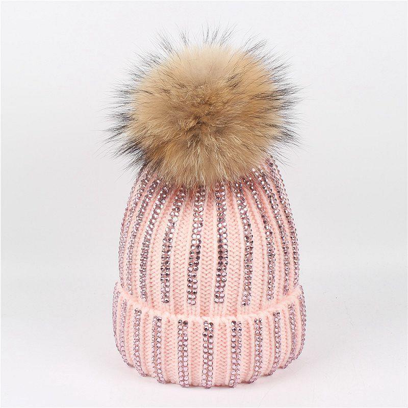 Trendy Diamond Knitted Winter Hats For Women Raccoon Fur Pompom Hat Female Shining Warm Acrylic Beanies