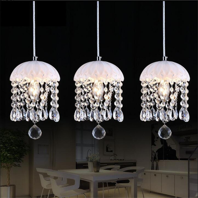Creative Elegant Modern Luxurious K9 Crystal Led 7w*1/3 Heads Pendant Light for Dining Room Living Room Bar Droplights 1370 modern fashion luxurious rectangle k9 crystal led e14 e12 6 heads pendant light for living room dining room bar deco 2239