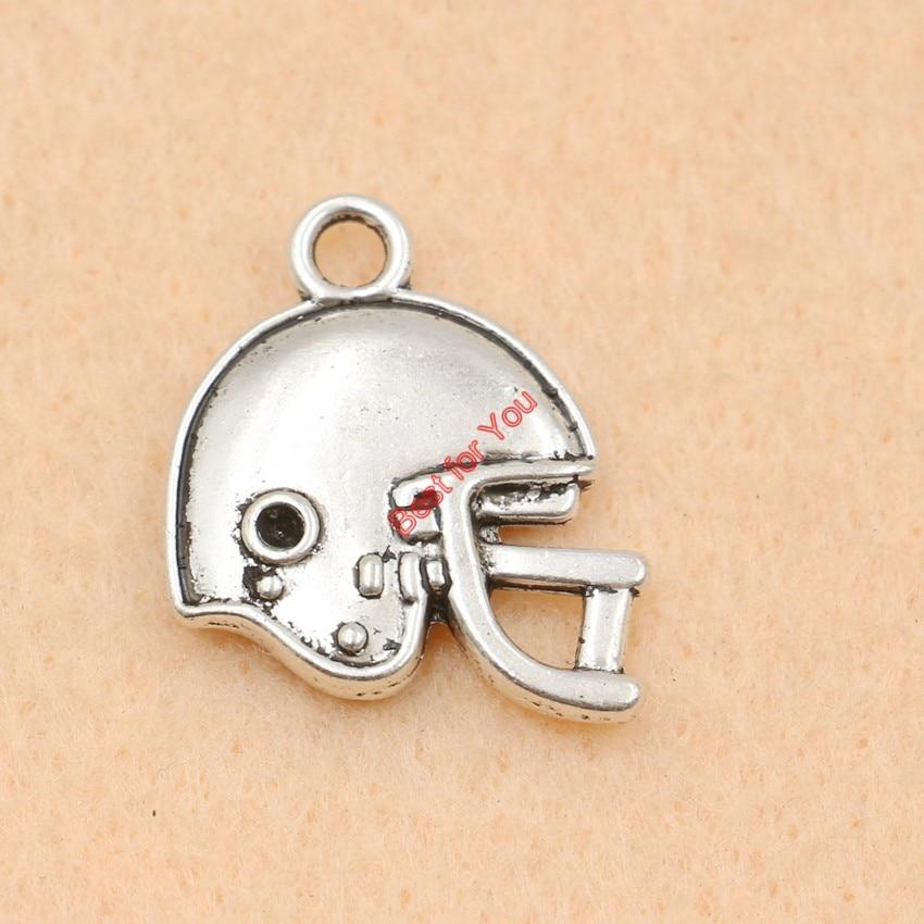 60pcs Antique Silver Tone Football Helmet Charms Fashion Pendants Jewelry Diy Jewelry Findings Handmade 19x20mm