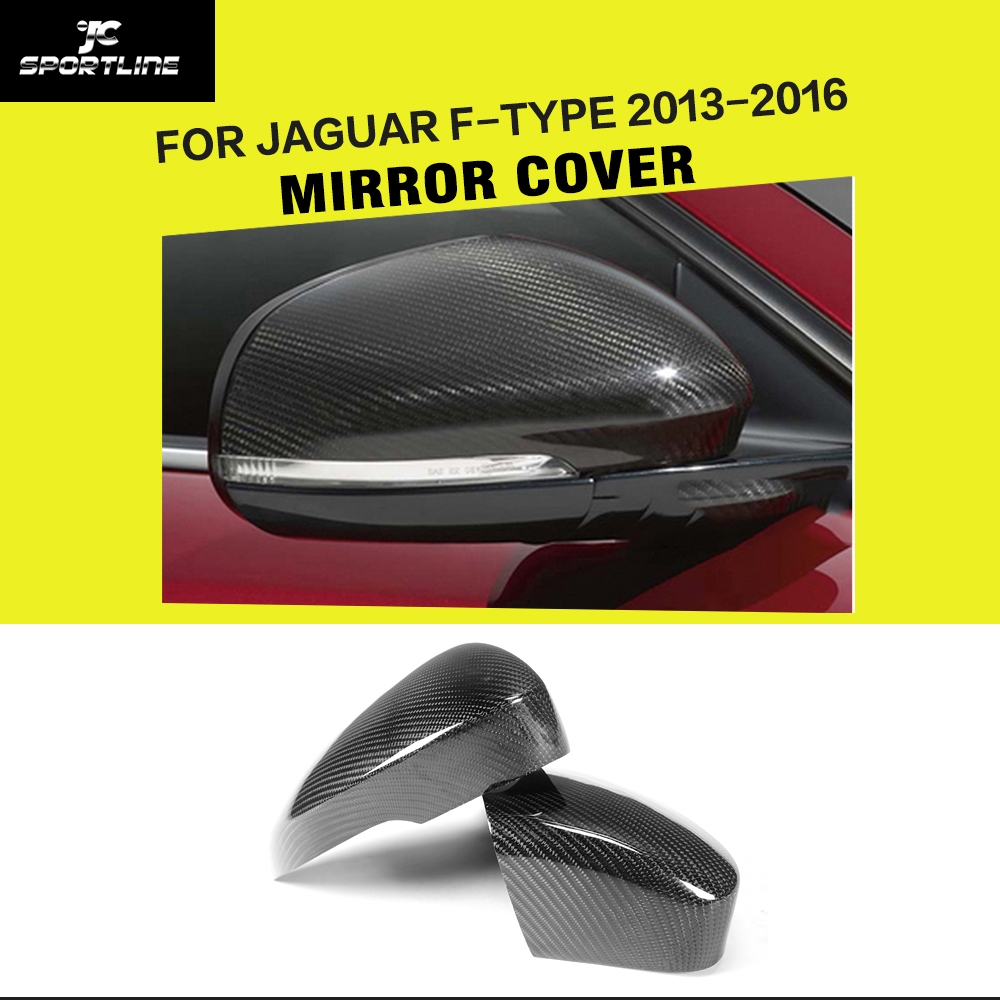 Carbon Fiber Side Mirror Cover Rear View Mirror Caps for Jaguar F-Type Coupe 2-Door Only 2013-2016
