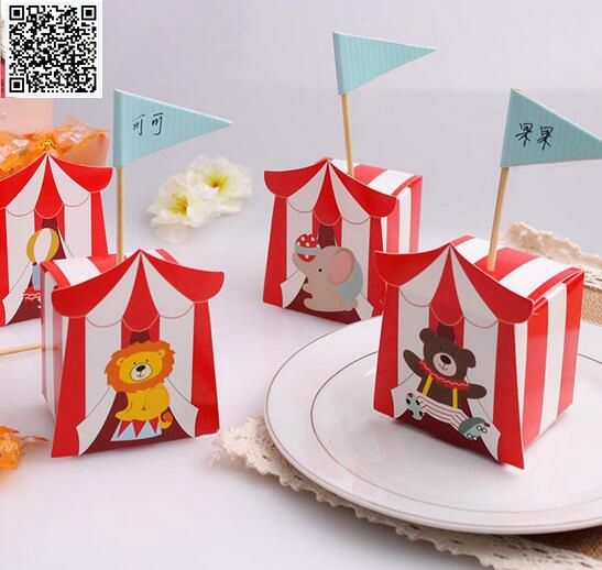 New 100pcs Circus animal sugar box Paper Candy Box Children's day Theme Decoration Baby Shower Souvenirs Party Favors Gift Box-in Gift Bags & Wrapping Supplies from Home & Garden    1