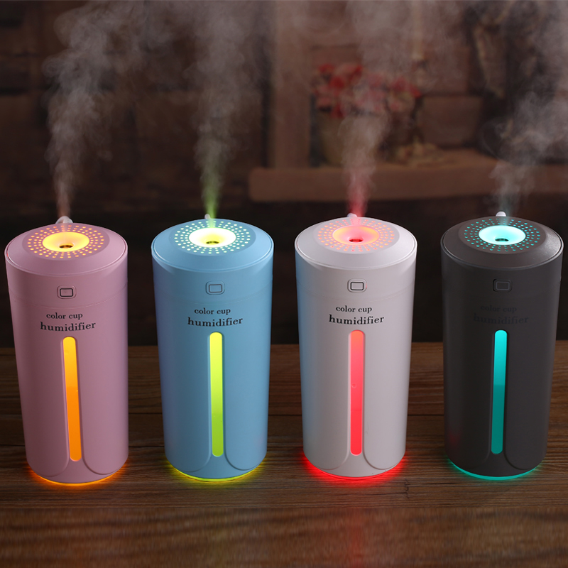 GXZ 230ml Color Cup USB Humidifier Night Light Ultrasonic Car Air Humidifiers Mist Maker Mini Home Bottle Air Purifier 5pcs lot 8 130mm replacement cotton swab for air ultrasonic humidifiers mist maker humidifier part replace filters can be cut