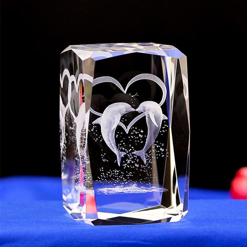 Dolphin Laser Engraved Crystal Night Light With Light Base