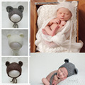 Fox Style Beanie Newborn Photography Prop Mohair Hat Hand-woven Mohair Hollow Out Bear Cap Baby Crochet Knit Handmade Hat Bonnet
