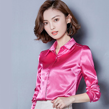 Women Vintage Thin Satin Soft Silk Shirt OL Lady Full Sleeve Solid Color Blouse Tops Blusa Work Office Wear