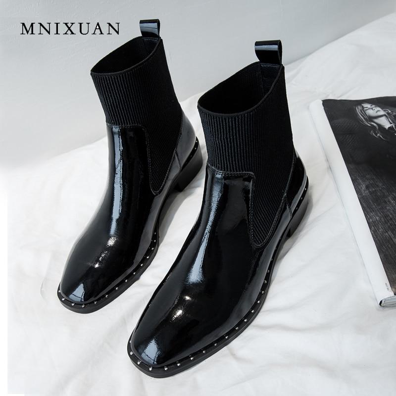 MNIXUAN Handmade chelsea boots women shoes patent leather elastic band ankle boots 2018 new retro square toe medium heels short цены онлайн