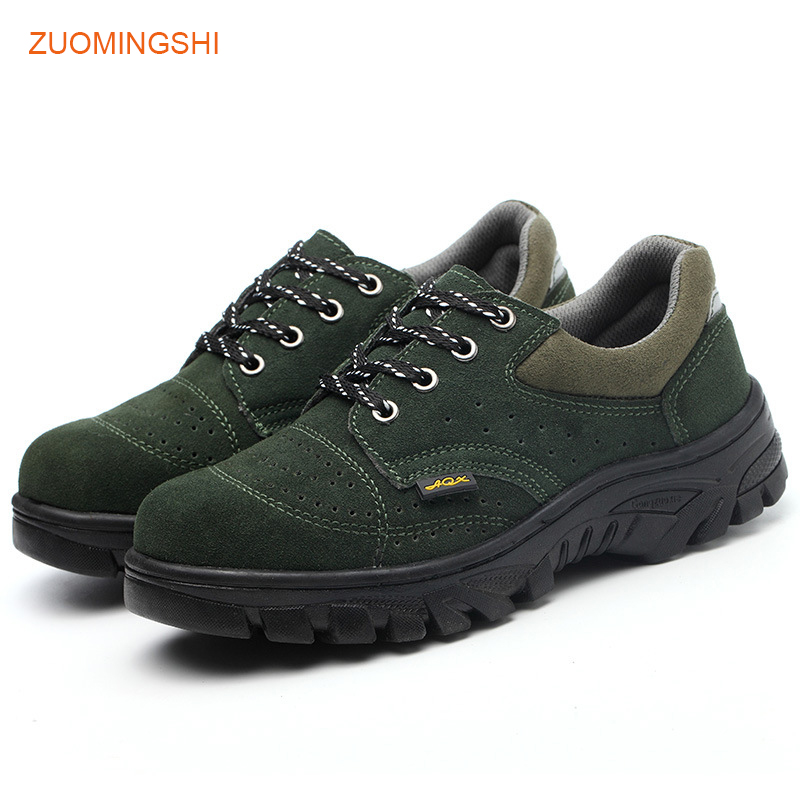 95d34f14d97 Leather Safety Shoes Men Light breathable bot security shoes steel toe  boots anti-puncture piercing work protection shoes