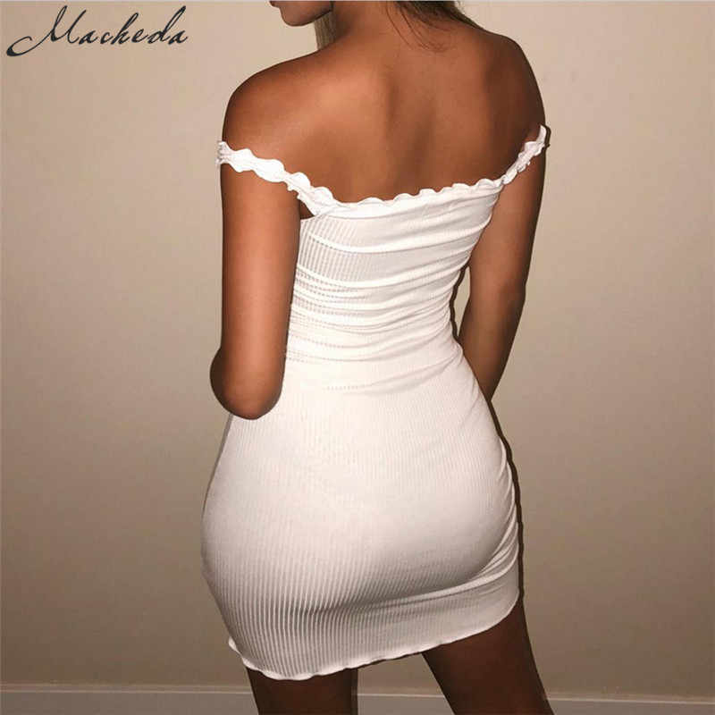 3d18834c5c00 ... Macheda Ruffles Solid Sling Summer Tight Dresses Sleeveless 2018 New  Bodycon Short Dress Solid Color Sexy