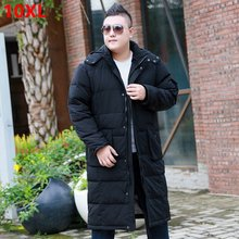 Men's over-the-knee down jacket plus long section Loose models large size men's down jacket big size winter 10XL 9XL(China)