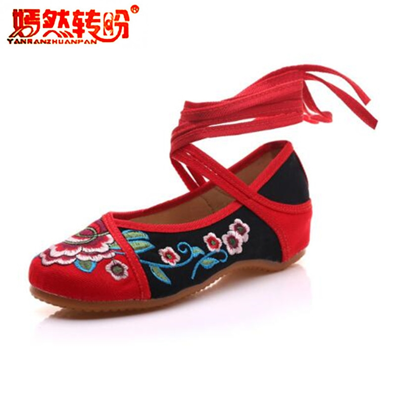 Ethnic Lace Up Ballet Flats Shoes Woman Flower Embroidery Women's Old Peking Cotton Fabric Linen Shoes Soft Mary Jane Size 34-41 vintage embroidery women flats chinese floral canvas embroidered shoes national old beijing cloth single dance soft flats