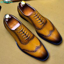 QYFCIOUFU Mens Formal Shoes Genuine Leather Oxford For Men 2019 Dress Wedding Laces Brogues US 11.5