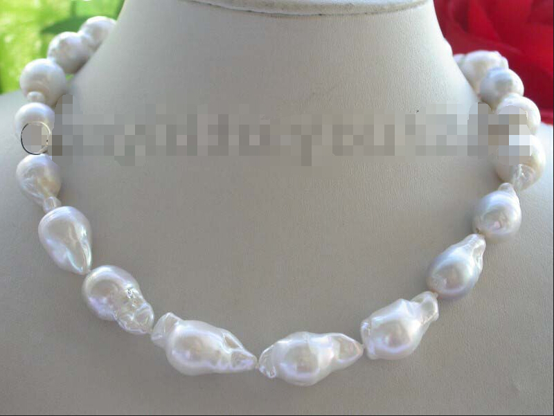 Genuine Natural 23mm White Reborn Keshi Pearl Necklace 14KGP #f1527!Genuine Natural 23mm White Reborn Keshi Pearl Necklace 14KGP #f1527!