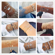 10 Style Boho Bangle Classical Heart Shell Star Moon Bow Map Crystal Bead Bracelet Women Charm Party Wedding Jewelry Accessories