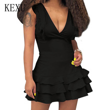 KEXU Summer Deep V Neck Short Dress Sexy Hollow Out Back Bow Sleeveless Ruffle Dress Elegant Holiday Loose Beach Mini Dresses