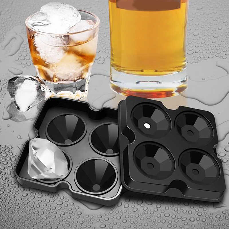 4 Cell Diamond Ice Ball Mold Ice Cream Molds Form Chocolate Mold For Party Bar Silicone Ice Cube Tray Whiskey Ball Maker