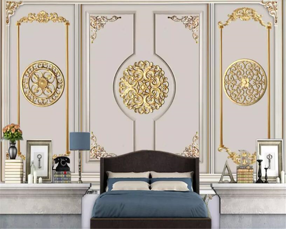 beibehang 3d mural Modern European golden plaster pattern wallpaper 3d TV home decoration background wallpaper for kids room