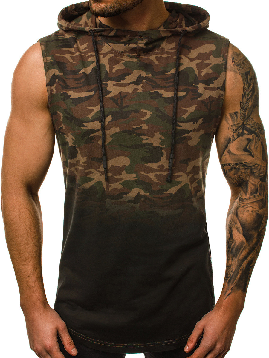 HTB1pjEaXRGw3KVjSZFDq6xWEpXac Fashion Summer Mens Sleeveless Hoodie T Shirts 3D Print Camouflage Hoody Tops GYM Sport Men Hooded Tshirt Fitness Sportswear Tee