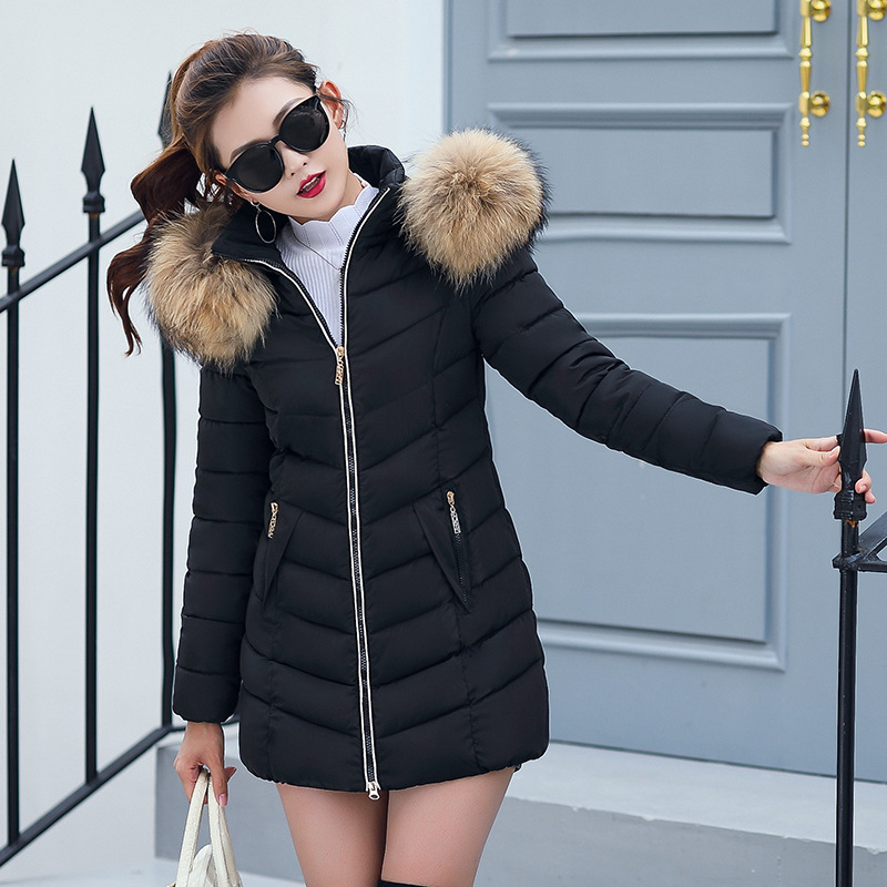 Winter Women's New Cotton Jacket 2018 Fashion Lady Parkas 6 Color Wadded Jacket Warm Jacket With Cap Large Artificial Fur Collar
