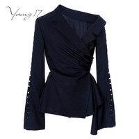 Young17 Women Blouse Short Flare Sleeve Blue Plaid Button Female Ruffles Elegant Fashion Beauty 2017 Autumn
